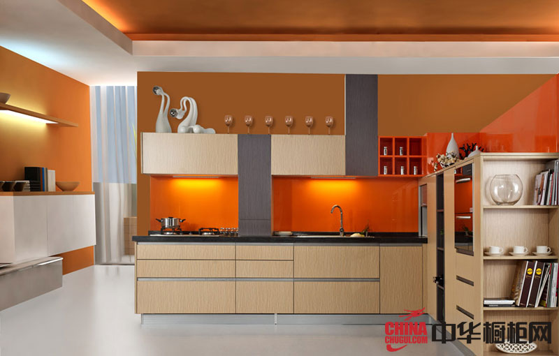 淡黄色烤漆整体橱柜效果图 L型整体厨房效果图欣赏