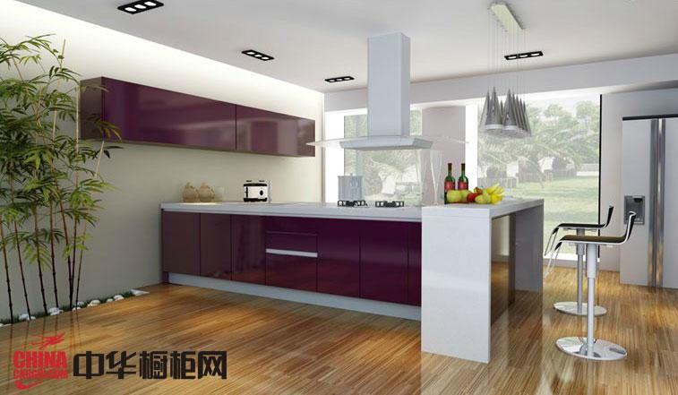 紫色烤漆橱柜图片 简约风格整体厨房装修效果图欣赏