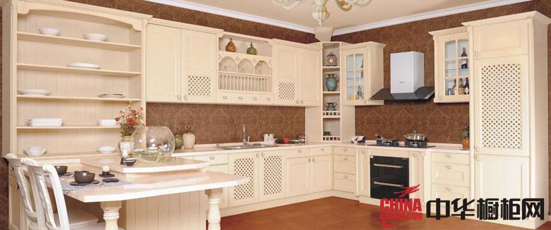 乳白色实木欧式橱柜效果图 卡兰多整体橱柜图片特洛卡
