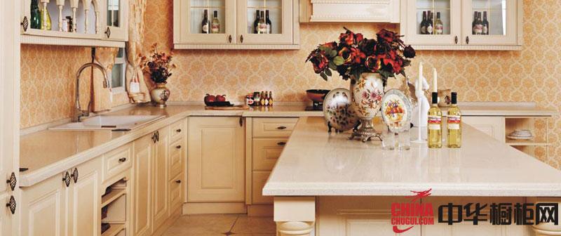 欧式风格开放式厨房装修效果图 实木橱柜图片