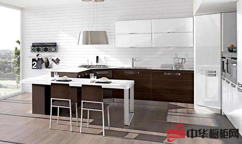 【厨房装修效果图】咖啡色烤漆橱柜图片 厨房装修效果图大全2012图片