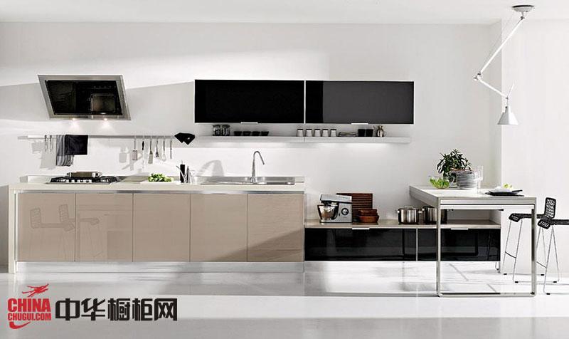 【橱柜效果图】香槟色烤漆橱柜图片 一字型小厨房装修效果图