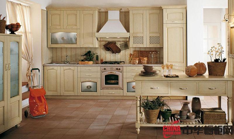 欧式田园风格整体橱柜图片 实木橱柜装修效果图欣赏