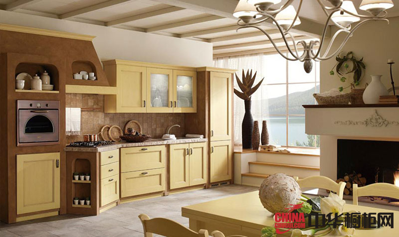 开放式厨房装修效果图大全 田园风格实木橱柜效果图