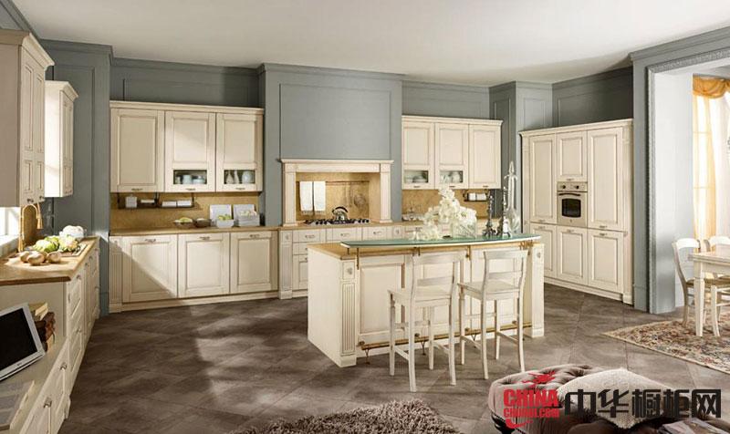 简欧田园风格实木橱柜图片 典雅的厨房装修效果图欣赏