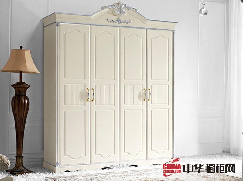 美式田园风格白色描银四门衣柜图片 2013最新款烤漆整体衣柜图片