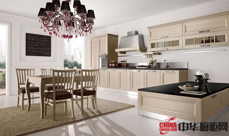 简欧风格厨房装修效果图片 优雅的整体实木橱柜效果图