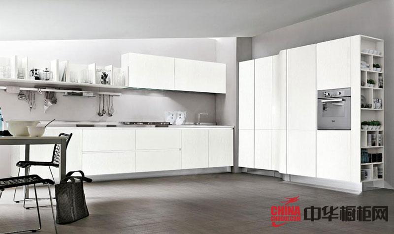 白色系整体橱柜效果图 L型厨房装修效果图欣赏