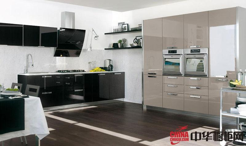 黑色烤漆不锈钢橱柜图片 简约风格厨房装修效果图大全2012图片