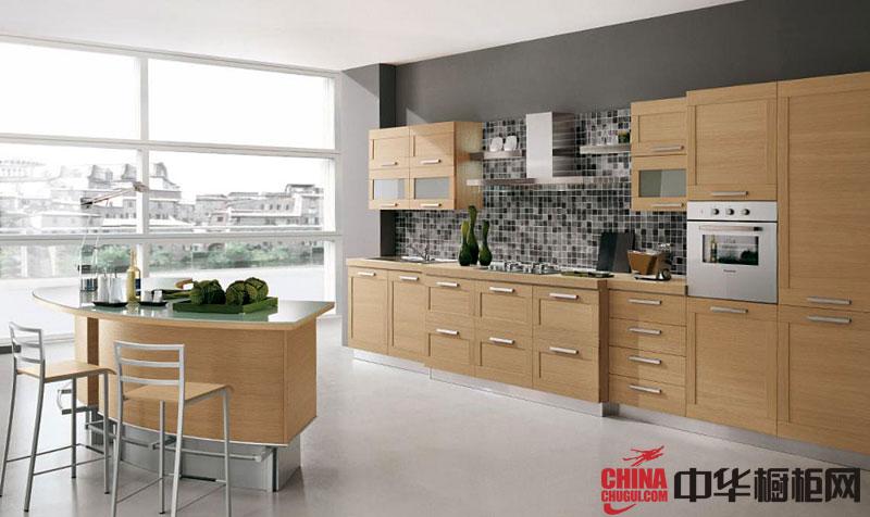 清新原木色整体橱柜效果图 田园风厨房装修效果图欣赏