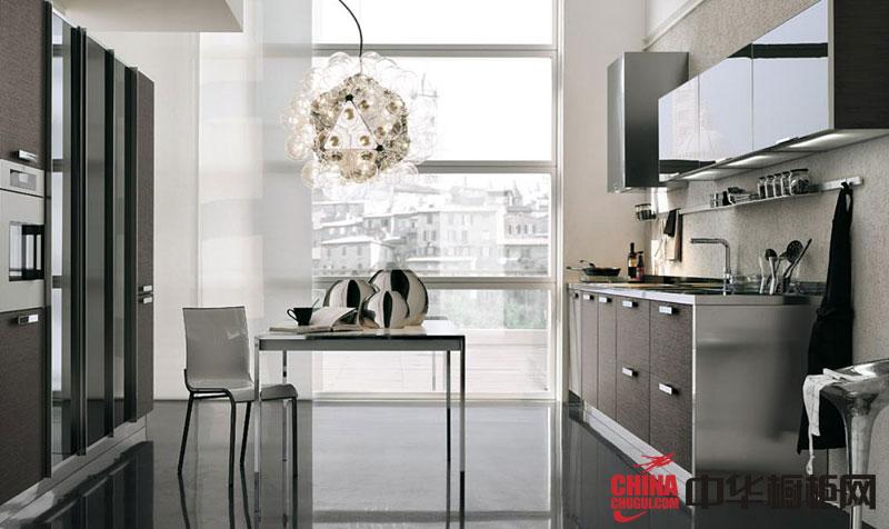 一字型小户型厨房装修效果图 2013年最新款整体橱柜图片