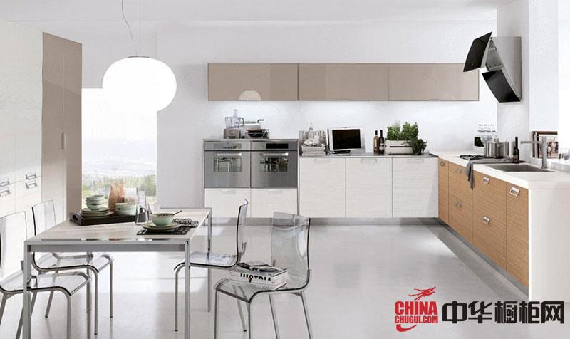 纯白色L型整体橱柜效果图 现代简约风格厨房效果图