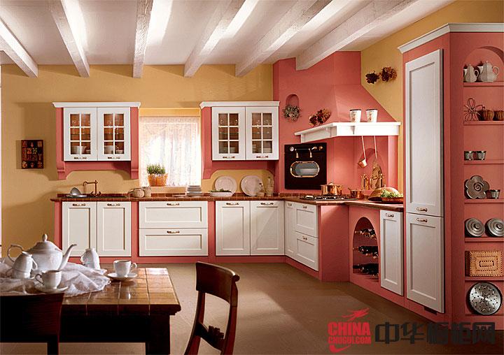 欧式田园风格橱柜效果图片 粉色系实木橱柜图片欣赏