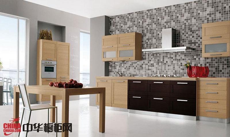 开放式厨房装修效果图欣赏 一字型整体橱柜图片展现优雅