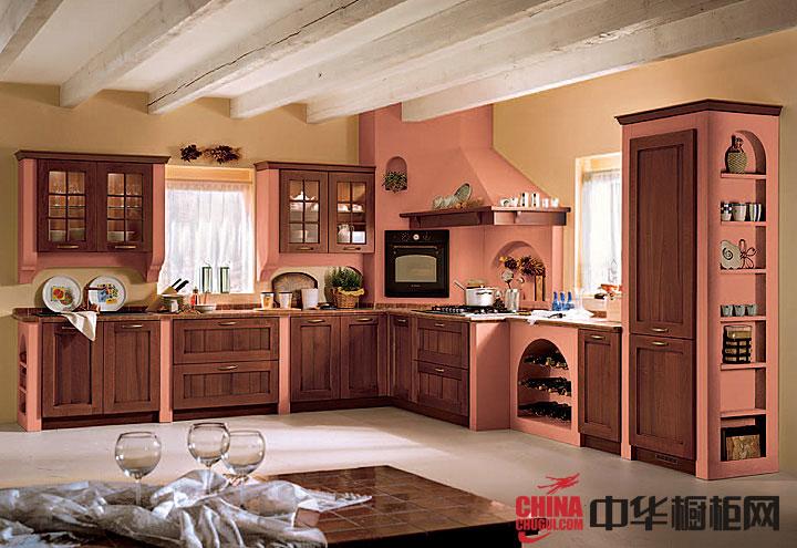 田园风格厨房整体橱柜效果图 L型欧式实木橱柜图片欣赏