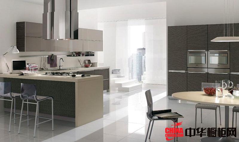 简约风格开放式厨房装修效果图 灰白色烤漆不锈钢橱柜图片