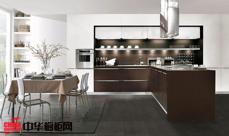 咖啡色整体橱柜效果图 现代简约风格厨房装修效果图大全2012图片