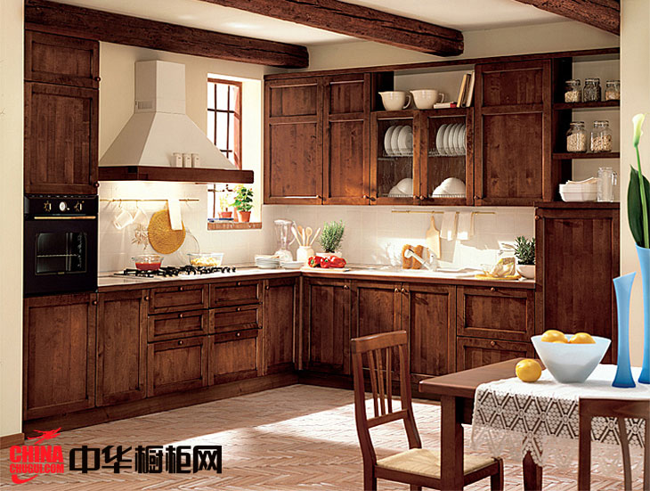 欧式古典风格整体橱柜效果图 L型实木整体橱柜图片
