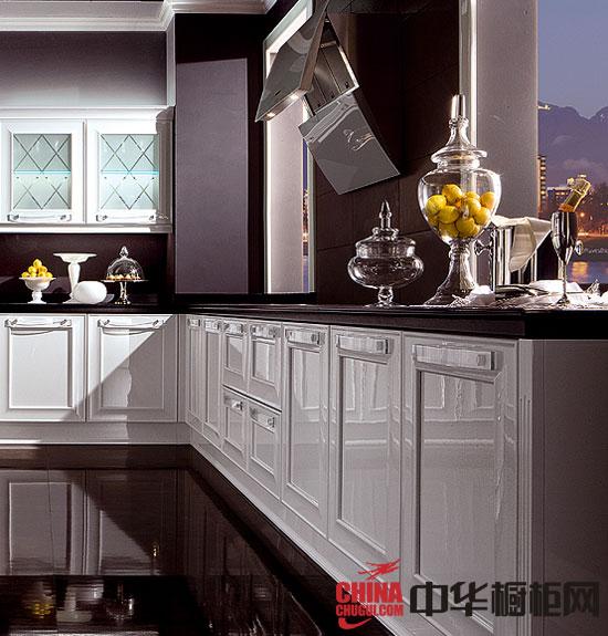 简欧风格实木橱柜效果图 l型白色整体厨房效果图展示