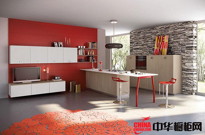开放式整体厨房橱柜效果图 原木色吸塑橱柜图片欣赏