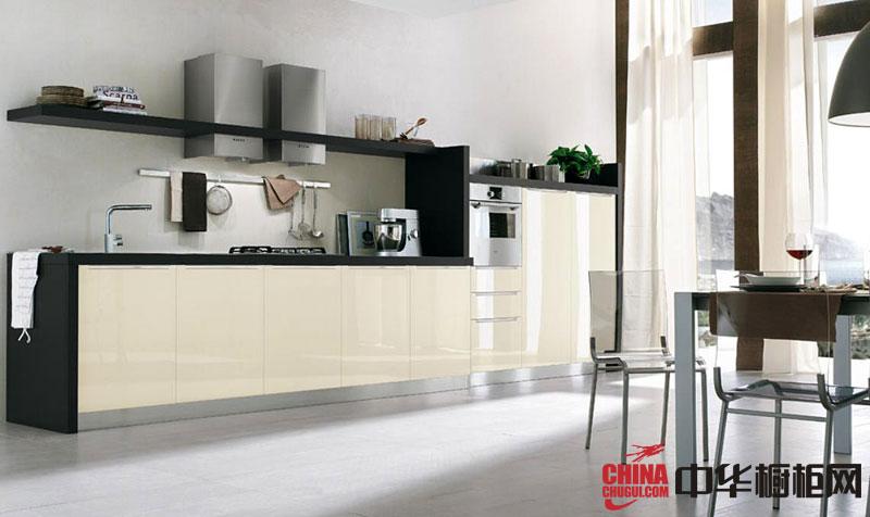 米白色烤漆橱柜图片 一字型厨房装修效果图大全2012图片欣赏