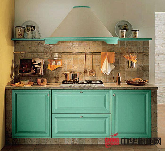 一字型小厨房装修效果图 蓝绿色整体橱柜图片 实木橱柜图片