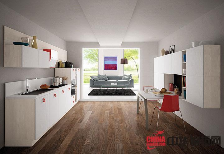 厨餐一体化整体厨房效果图 白色开放式橱柜设计效果图