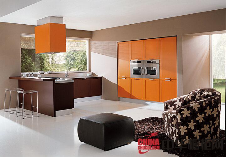 简约风格整体橱柜设计图片  橙色烤漆橱柜图片