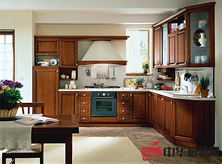 实木整体橱柜图片 厨房尽显古典中国风