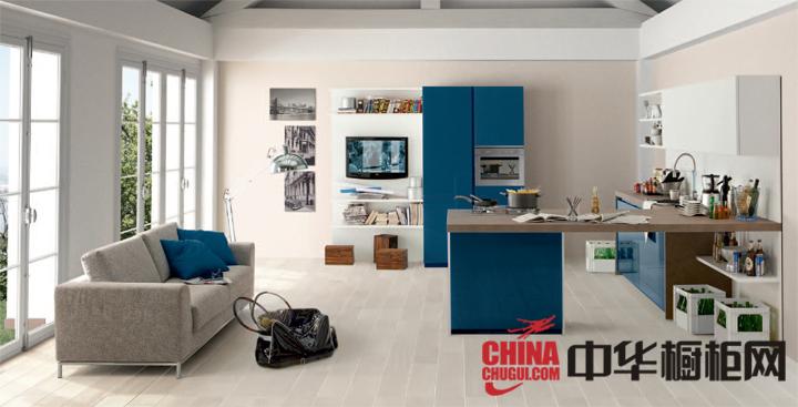 清爽蓝色厨房装修效果图片 给你平静与安宁的感觉