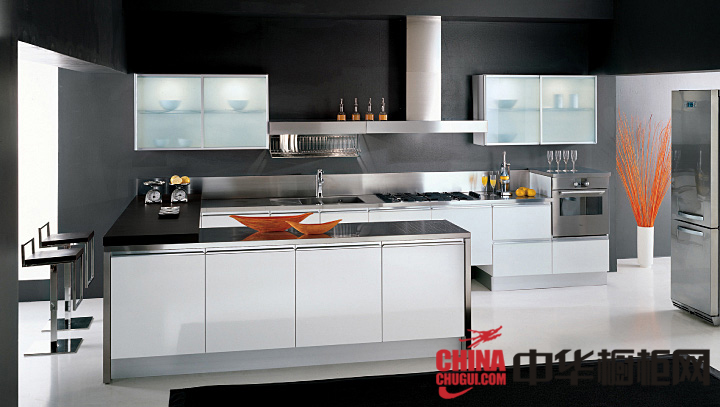 开放式厨房装修效果图 2013最新款整体橱柜图片