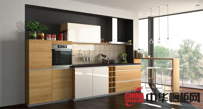 原木色最新款整体橱柜图片 小厨房装修效果图
