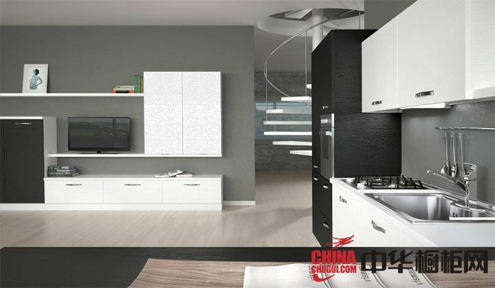 现代简约小厨房装修效果图 白色烤漆橱柜图片