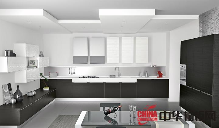 现代简约风高贵黑白搭配橱柜图片 开放式厨房装修效果