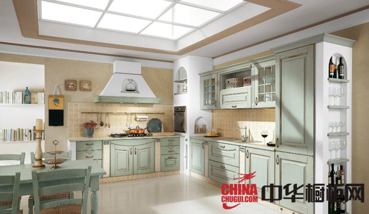 开放式厨房橱柜装修效果图 实木橱柜图片