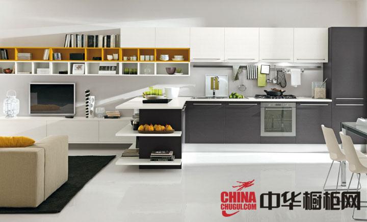 厨房客厅一体化开放式厨房装修效果图