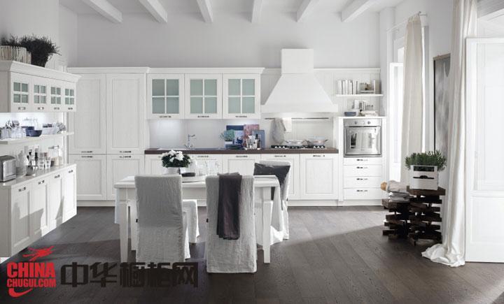 高贵气质白色欧式风格整体橱柜设计效果图