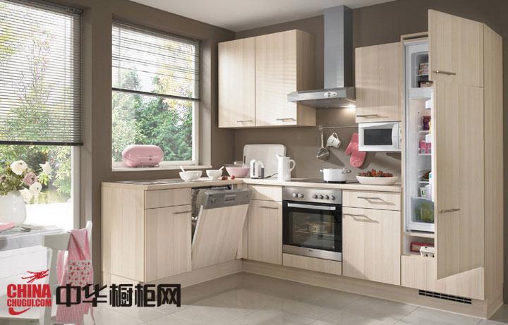 简约原木色橱柜设计效果图 小户型厨房装修首选