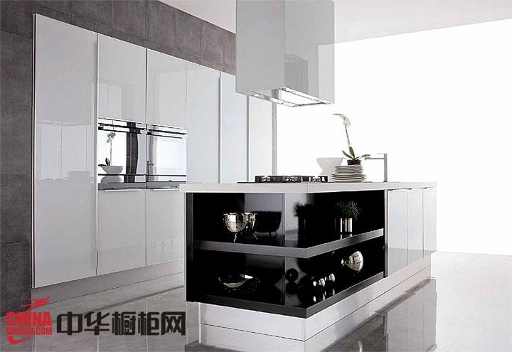 白色烤漆橱柜设计效果图 开放式整体橱柜图片