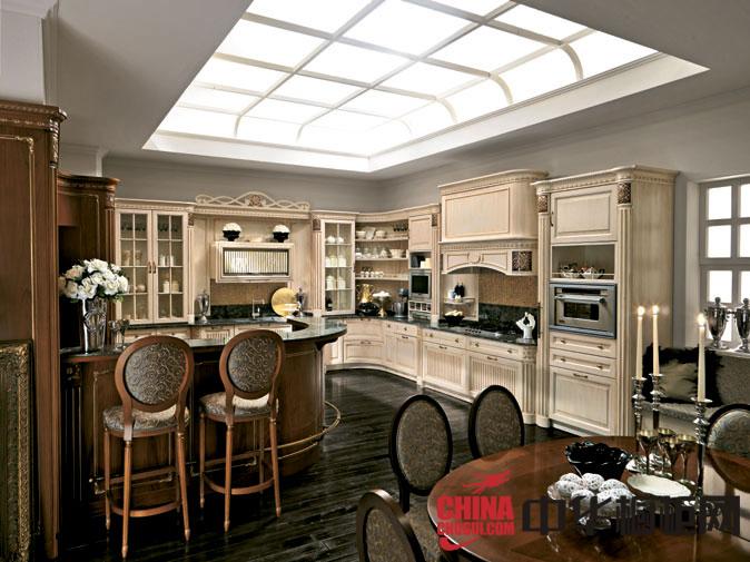 欧式风格橱柜设计效果图,高调的奢华厨房