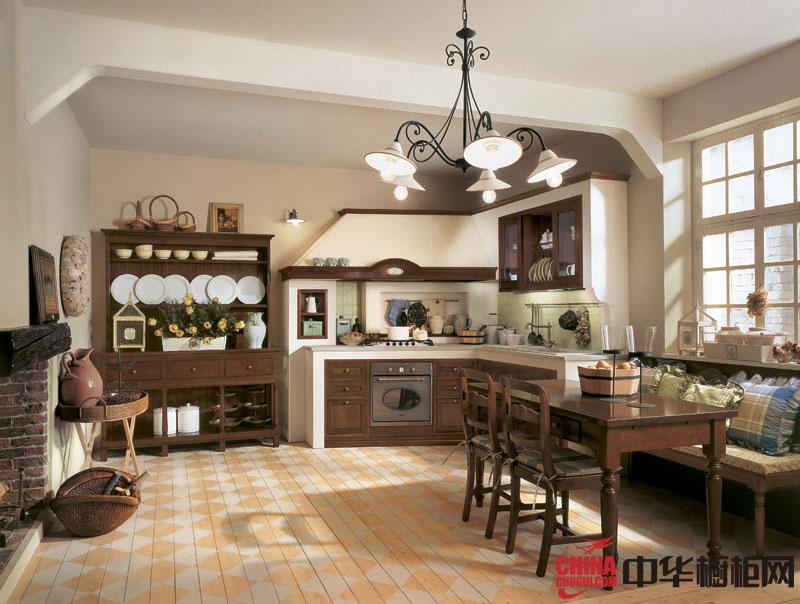 田园风格厨房装修效果图大全2013图片
