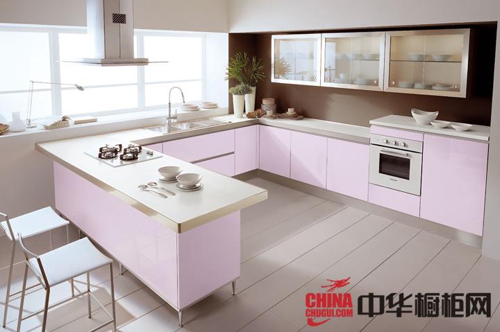 粉色简约风格橱柜图片 小厨房的魅力展现