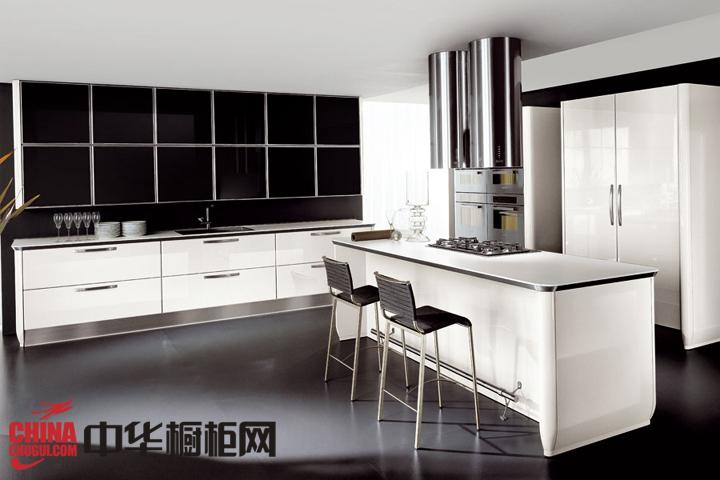 开放式厨房装修效果图 黑白造就的时尚