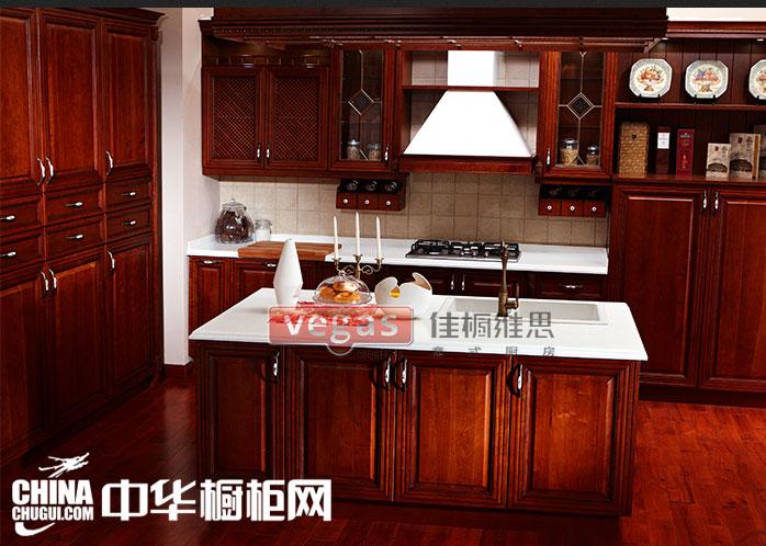 實木開放式廚房裝修效果圖