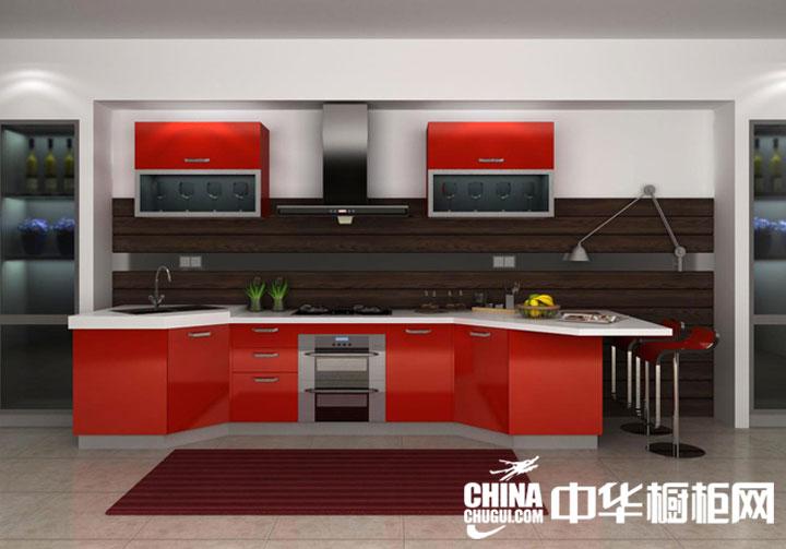 红色开放式厨房装修效果图 非常高端大气上档次
