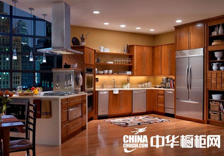 乡村风格整体橱柜效果图 开放式折角造型厨房