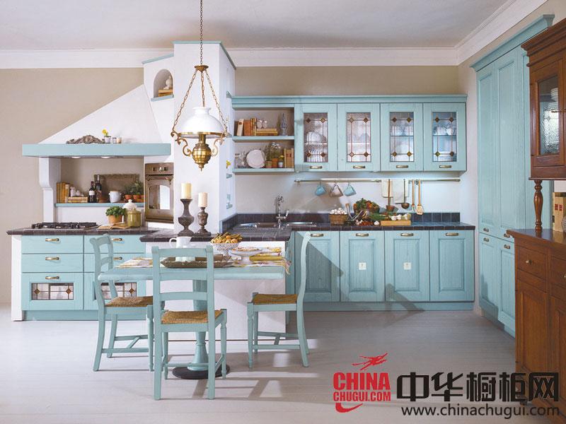 蓝色整体橱柜效果图 极具地中海风韵的厨房设计