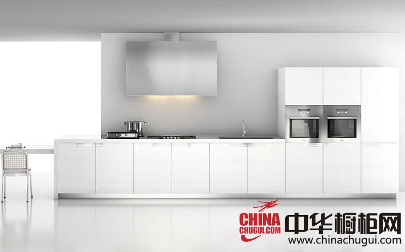 白色一字型整体橱柜效果图 时尚大气简约厨房装修