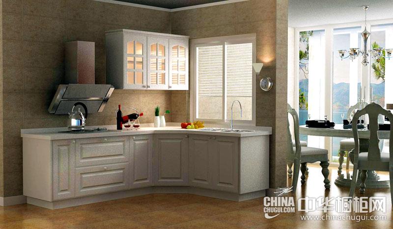 皮阿诺橱柜图片三防 米白色吸塑橱柜效果图