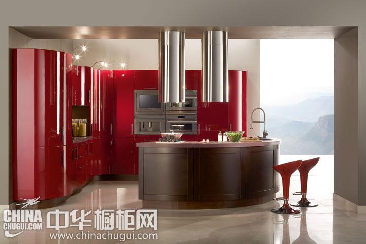 绚丽现代风格整体橱柜图片 红色烤漆分享火热生活
